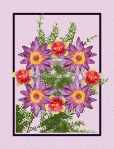 Floral art design. Mauve waterlily flowers and red and yellow flowers on lilac background.