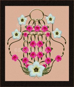 Floral art design. white and pink flowers on salmon pink background with black frame.