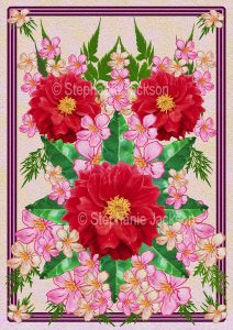 Floral art design. red and pink flowers on pink background