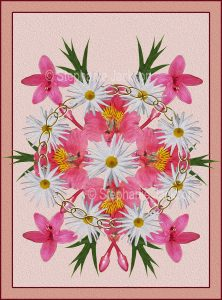 Floral art design. pink star-shaped flowers and white daisies on pink background