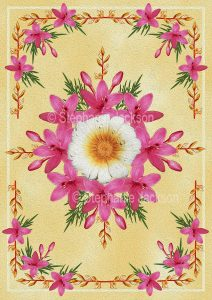 Floral art design. Pink star-shaped flowers on cream background