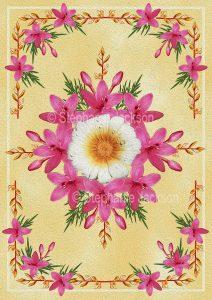Floral art design. Pink star-shaped flowers on cream background