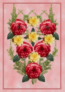 Floral art design - red and yellow roses on pink background