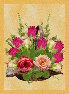 Floral art design - red roses in a basket