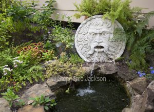Water feature with small pond and face spouting water.