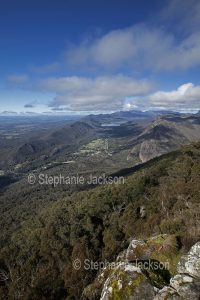 View of jagged ranges, forests and valley from high lookout in Grampians National Park in Victoria Australia