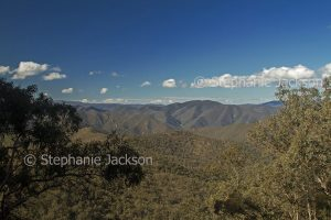 Mountain landscape with hills of the Great Dividing Range in Kosciuszko National Park in NSW Australia
