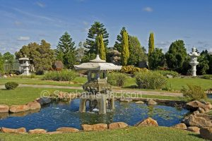 Japanese gardens with pond / water feature at Blackwater in central Queensland Australia