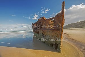 Wreck of the Maheno on beach at Fraser Island, Queensland Australia