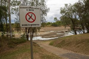 The boat ramp at the Mary River at Tiaro in Queensland Australia, during a severe and prolonged drought.