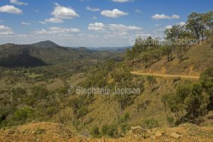 Landscape with wooded hills and valleys of Great Dividing Range in central Queensland Australia.