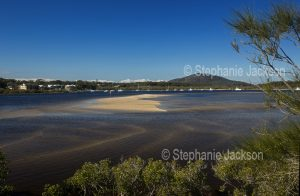 The Myall River beside the town of Hawk's Nest near the river's wide estuary in NSW Australia