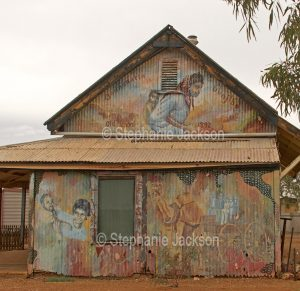 The old school house, a tin shed at the outback town of Oodnadatta in northern South Australia.