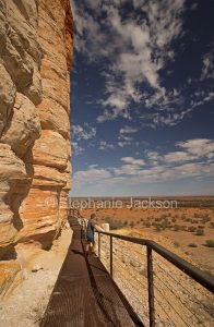 View of outback plains from base of Chamber's Pillar, a huge geological formation, in the outback, Northern Territory, Australia