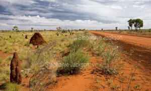 Red outback road, the Sandover Highway, in the Northern Territory, Australia
