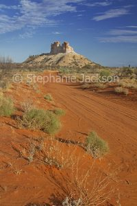 Red sandy track with Castle Rock nearby. in the outback, Northern Territory, Australia