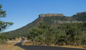 Road beside Lords Table Mountain and woodlands in Peak Range National Park in outback Queensland Australia