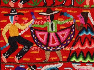 Needlework, wall hanging, by indigenous Peruvians representing the culture of the Andean, Quechua people of the Uros Islands in Lake Titicaca, Peru, South America