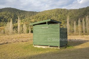 Long drop / pit toilet at rural bush camping area at Blackbird Flat near Bellbrook in NSW Australia