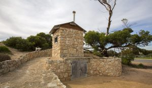 Unusual stone building, public toilet, composting toilet, in town of Scaele in South Australia