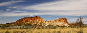 Rocky landscape of Rainbow Valley, a popular natural tourist attraction in the outback in Central Australia