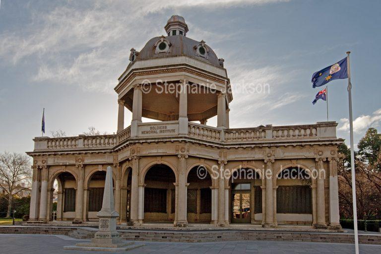 Historic building, the Soldiers' Memorial Institute, in the city of Bendigo in Victoria Australia.