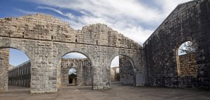 The historic ruins of Trial Bay Gaol, near the coastal town of South West Rocks, are a popular tourist attraction in NSW Australia.