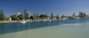 Panoramic view of Wallis Lake and town of Tuncurry in NSW Australia