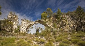 Panoramic view of Marlong arch, natural stone geological feature in Mount Moffatt section of Carnarvon National Park in Queensland Australia