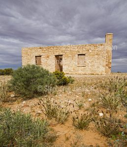 Ruins of historic Carcory homestead in outback Queensland Australia