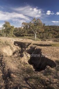 Eroded landscape, soil erosion in the Flinders Ranges National Park in northern / outback South Australia.
