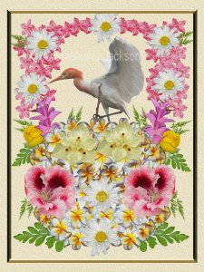 Floral art design. White daisies, pink and yellow flowers and emerald green foliage surrounding cattle egret on cream background.