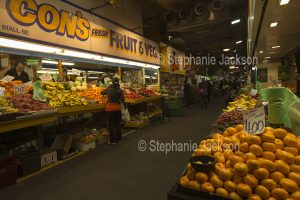 Central market, fruit and vegetable stalls, in the city of Adelaide, South Australia.