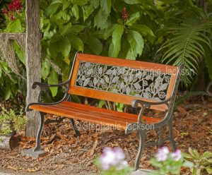 Garden bench with wrought iron and timber
