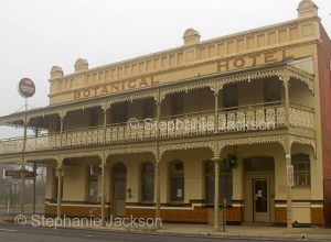 Historic building, old Botanical Hotel on a misty morning in the town of St. Arnaud in Victoria Australia