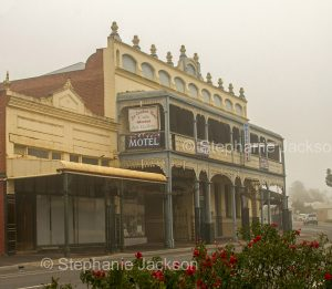 Historic building, an old hotel on a misty morning in the town of St. Arnaud in Victoria Australia