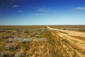 Australian outback landscape with dirt road stretching across plains, dry Lake Leaghur, to distant horizon under blue sky in Mungo National Park in NSW Australia