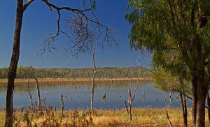Landscape with vast lake in Nuga Nuga National Park in Queensland Australia