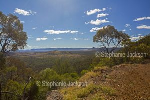 View from high rocky lookout of forested Arcadia Valley hemmed by ranges, in central Queensland Australia.