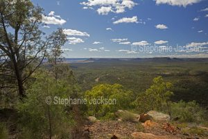 View from high lookout of forested Arcadia Valley hemmed by ranges, in central Queensland Australia.