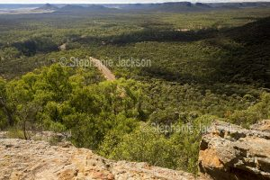 View from high lookout of forested Arcadia Valley hemmed by ranges and severed by a road, in central Queensland Australia.