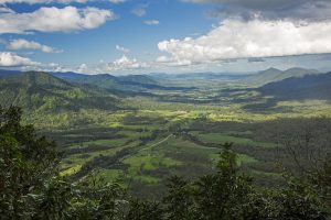 Australian landscape of valley and forested ranges from Eungalla National Park in Queensland Australia