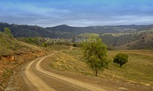 Road through rural landscape in central Queensland Australia.