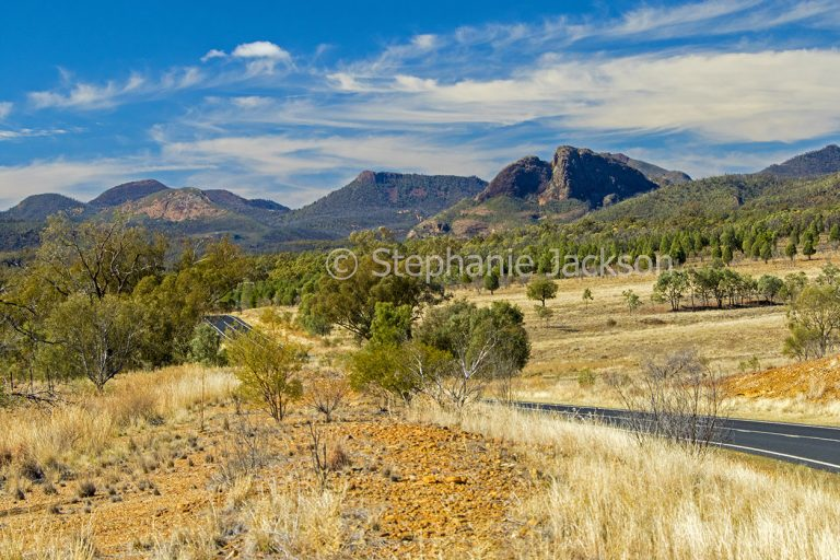 Road slicing through forested rural landscape towards peaks of the Warrumbungle National Park in NSW Australia.