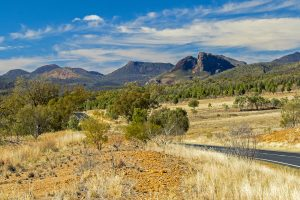 Landscape and road leading to Warrumbungle National Park in NSW Australia