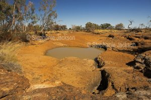 Australian outback landscape with red soil and scattered mulga trees surrounding rocky waterhole under blue sky in Bladensburg National Park in Queensland Australia