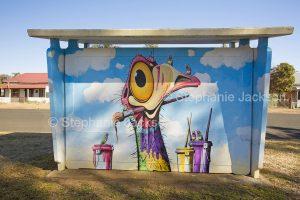Street / public art. Bus shelter with humourous art work in town of Gulargumbone, NSW Australia.