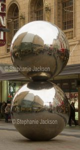 Public / street art, sculpture, large stainless steel balls, The Malls Balls, in Rundle mall, Adelaide, South Australia