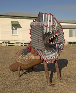 Street art, metal / corrugated iron sculpture of Australian frill necked lizard