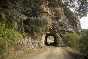 Historic tunnel carved through rock on the old coach road linking the NSW towns of Grafton and Glen Innes.